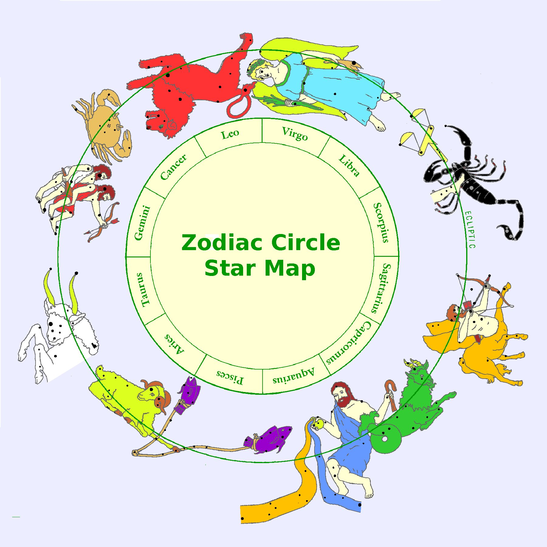 Zodiac Stars - Zodiac constellations map